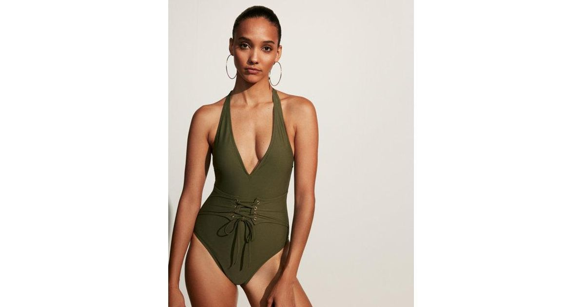 f88552357163 Express Corset One-piece Swimsuit in Green - Lyst