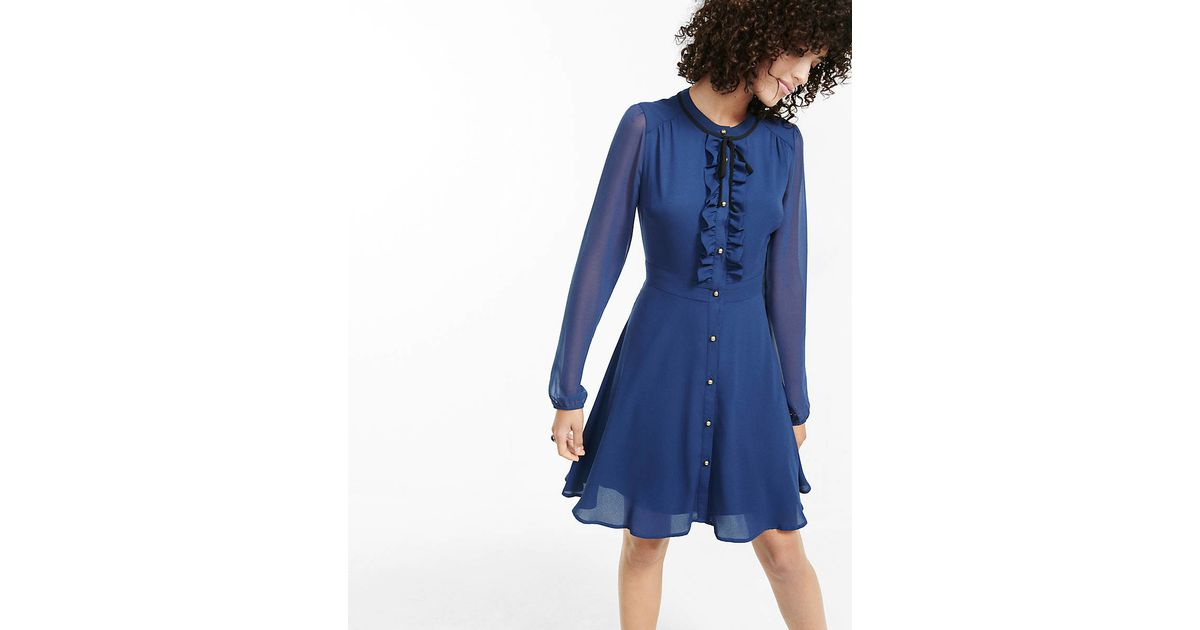 Express navy tie neck ruffled shirt dress in blue royal for Express shirt and tie