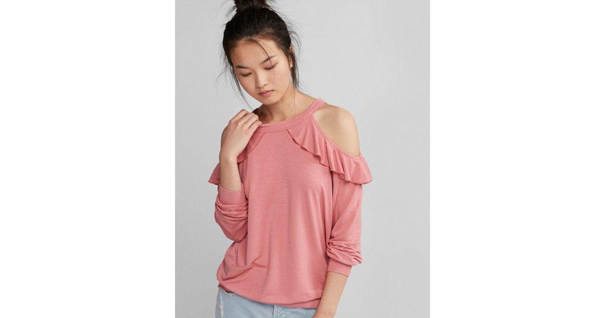 7b2cff6a61c1e Lyst - Express Cold Shoulder Ruffle Sweatshirt in Pink