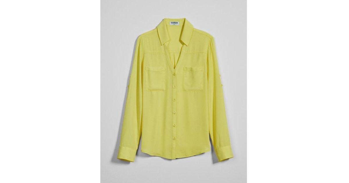 268db8b88bc4c Lyst - Express Slim Fit Convertible Sleeve Portofino Shirt in Yellow