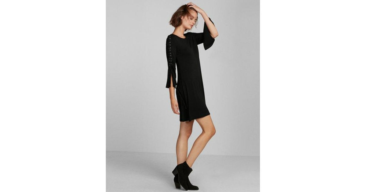 ef1654c2b1 Lyst - Express Petite Lace-up Bell Sleeve Trapeze Dress in Black