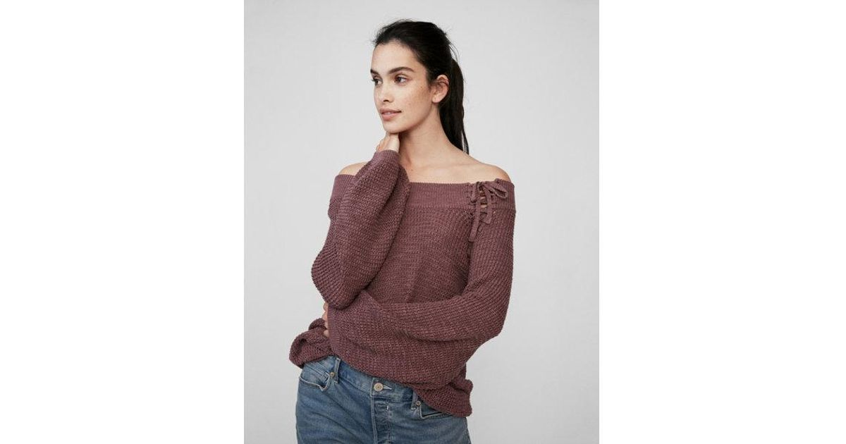 abd68d1d992 Lyst - Express Off The Shoulder Lace-up Bucket Sleeve Sweater in Brown