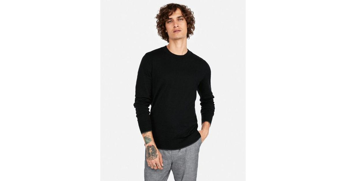 866168663edd Lyst - Express Cotton Tipped Crew Neck Sweater in Black for Men