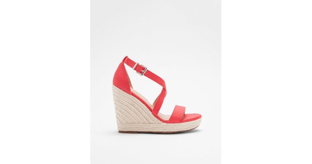 aa8cd418afc Express Orange Crisscross Espadrille Wedge Sandals