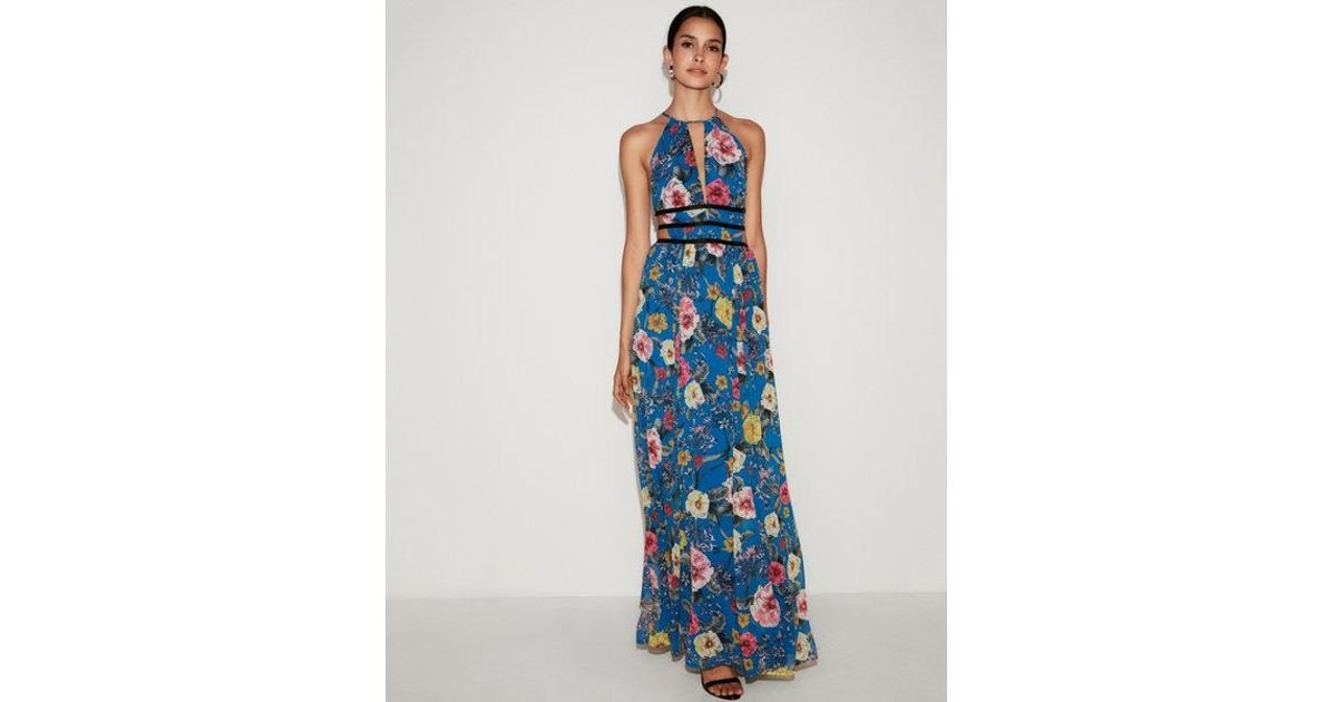 7b643657d4 Lyst - Express Floral Strappy Plunging Cut-out Maxi Dress in Blue