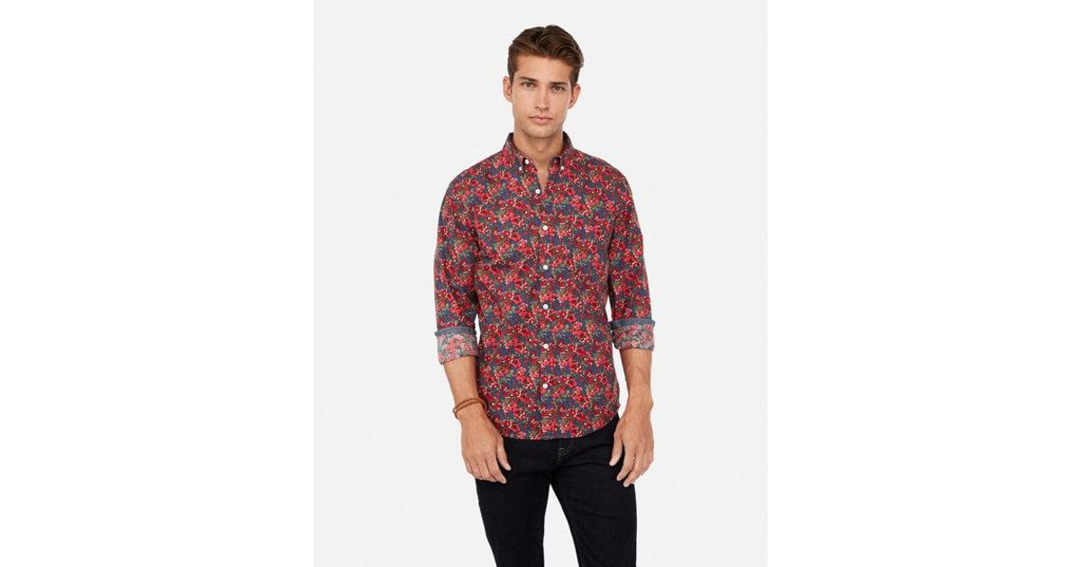 434ecee2 Lyst - Express Classic Floral Button-down Soft Wash Shirt in Blue for Men