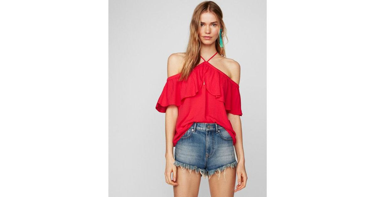 f030ffa4227e1 Lyst - Express Petite Off The Shoulder Halter Top in Red