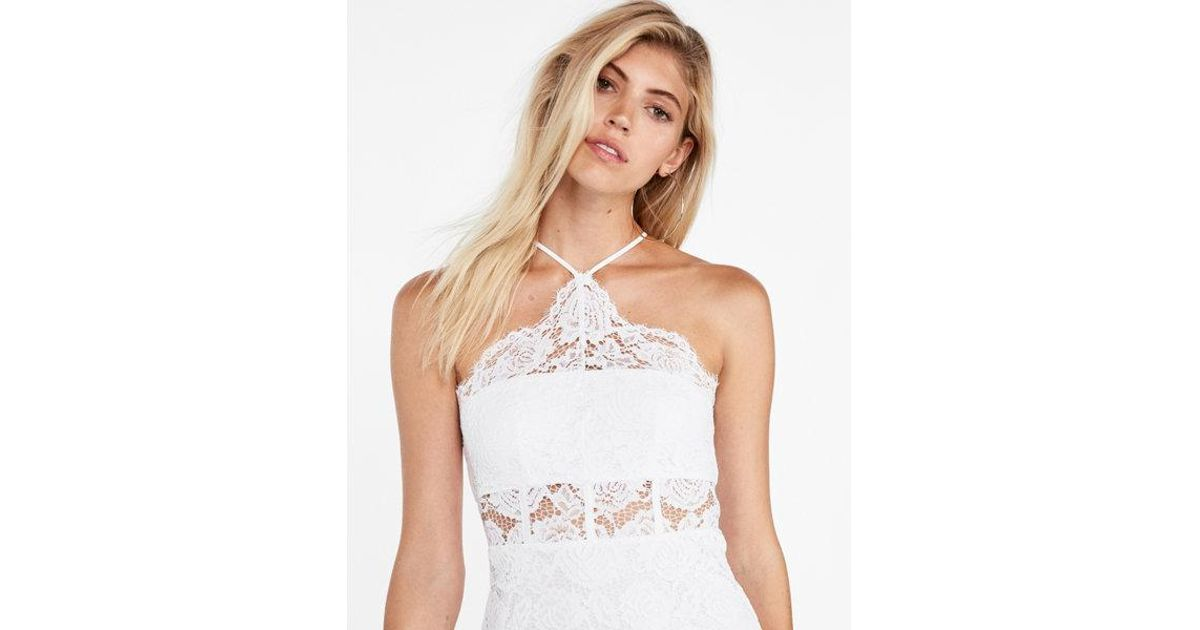 7793f68fd Lyst - Express Lace Corset Detail Halter Neck Dress in White