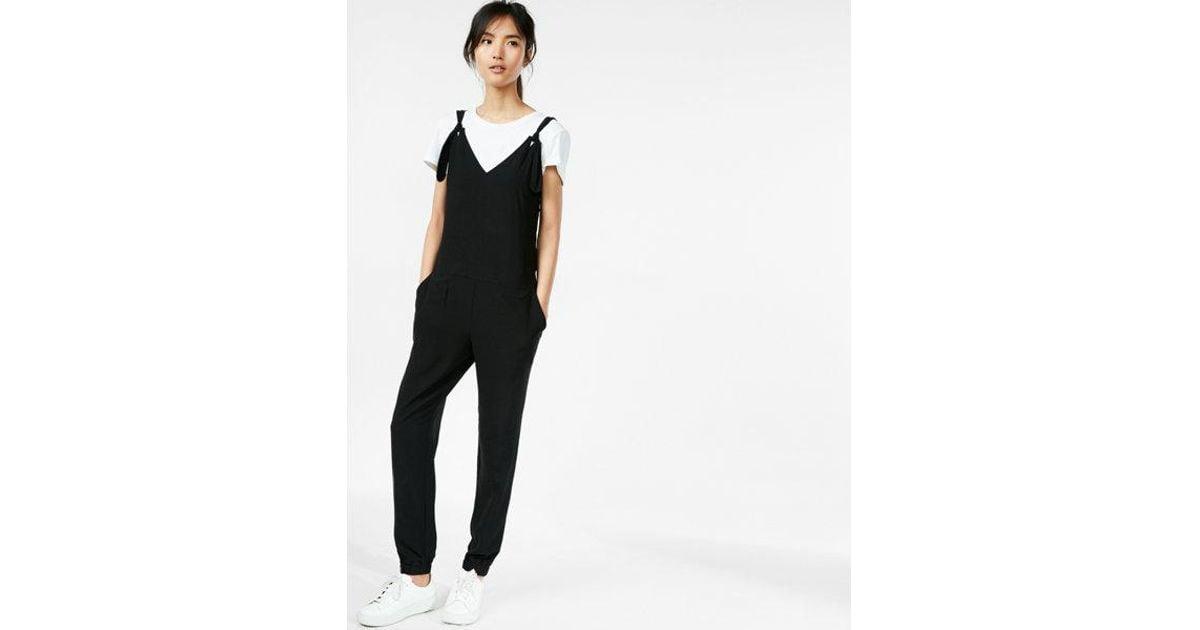 89edf071a90 Lyst - Express Tie Strap Jumpsuit in Black