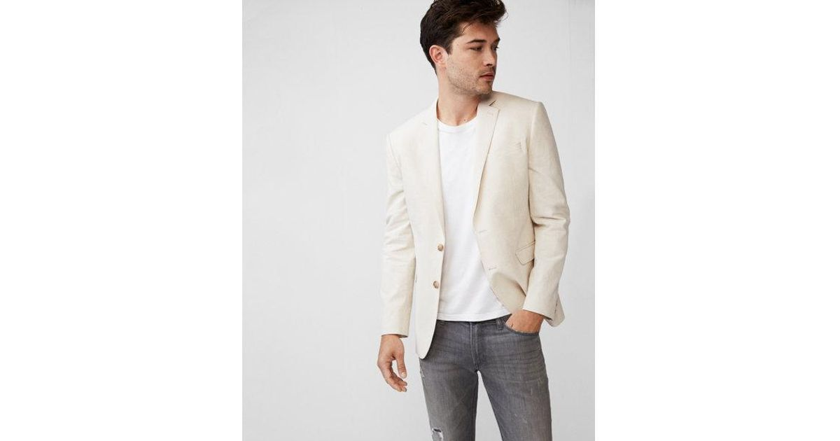 0a80688811 Lyst - Express Slim Khaki Striped Blazer in White for Men