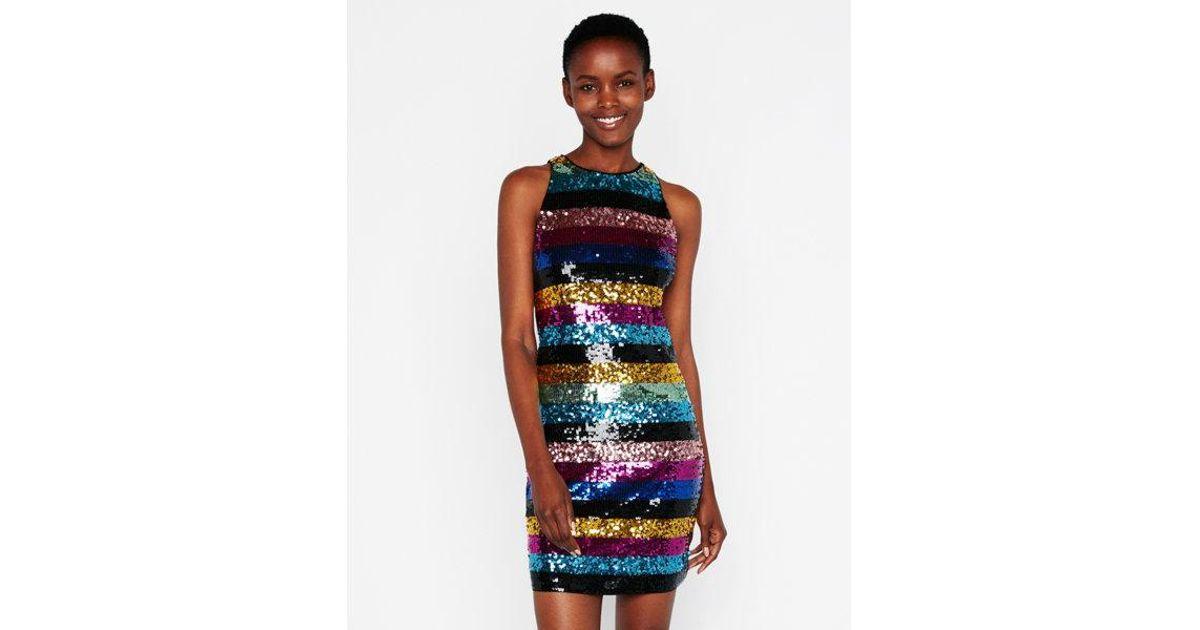 89f2f1eea0b8 Express Striped Sequin Embellished Mini Dress in Blue - Lyst