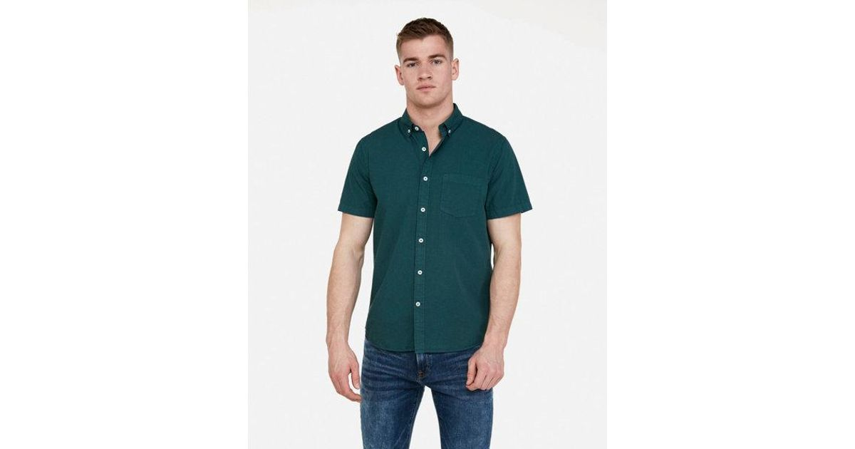 3704a55e094c Lyst - Express Slim Garment Dyed Button-down Short Sleeve Shirt in Green  for Men