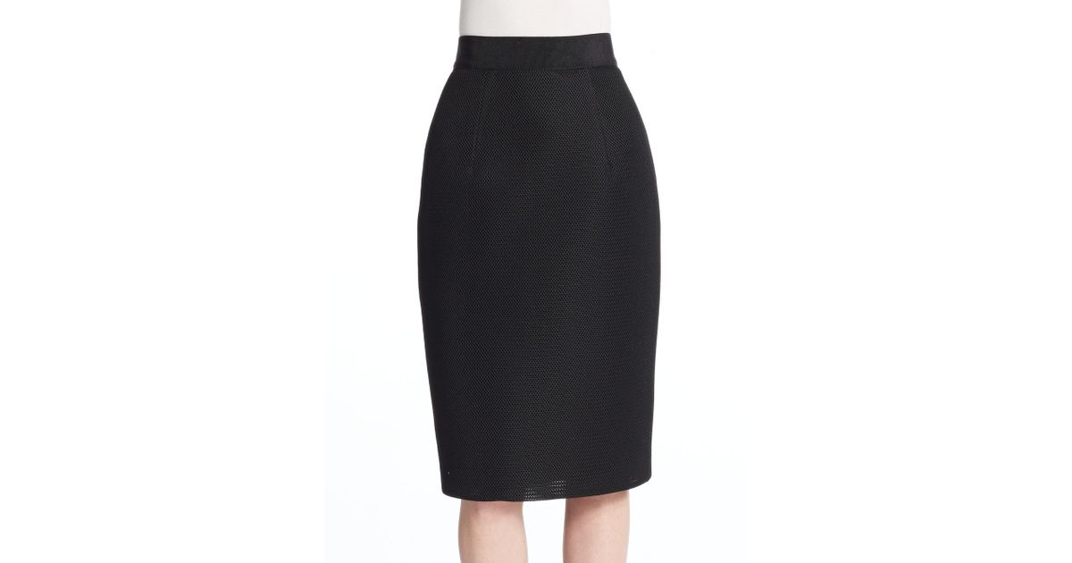 milly mesh pencil skirt in black save 56 lyst