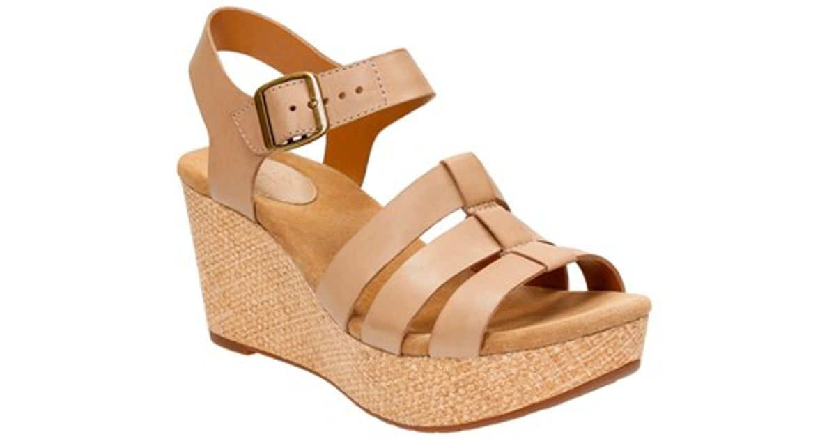 58fe30e2f26 Lyst - Clarks Caslynn Harp Leather Wedge Sandals in Natural