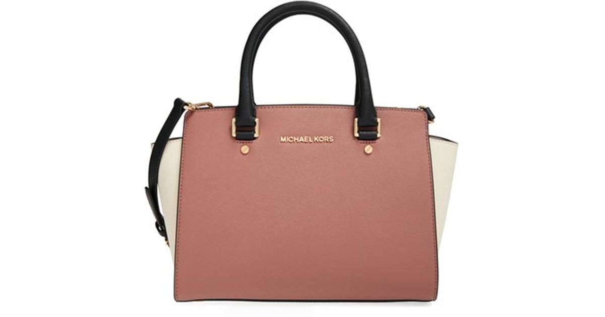... sweden lyst michael michael kors medium selma tricolor leather satchel  in pink acb5a 32072 0aadf489a44e9