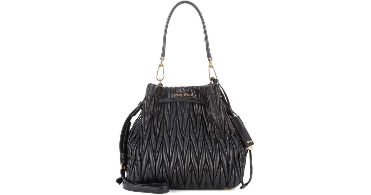 d89116b4dcc6 Lyst - Miu Miu Matelassé Leather Bucket Bag in Black