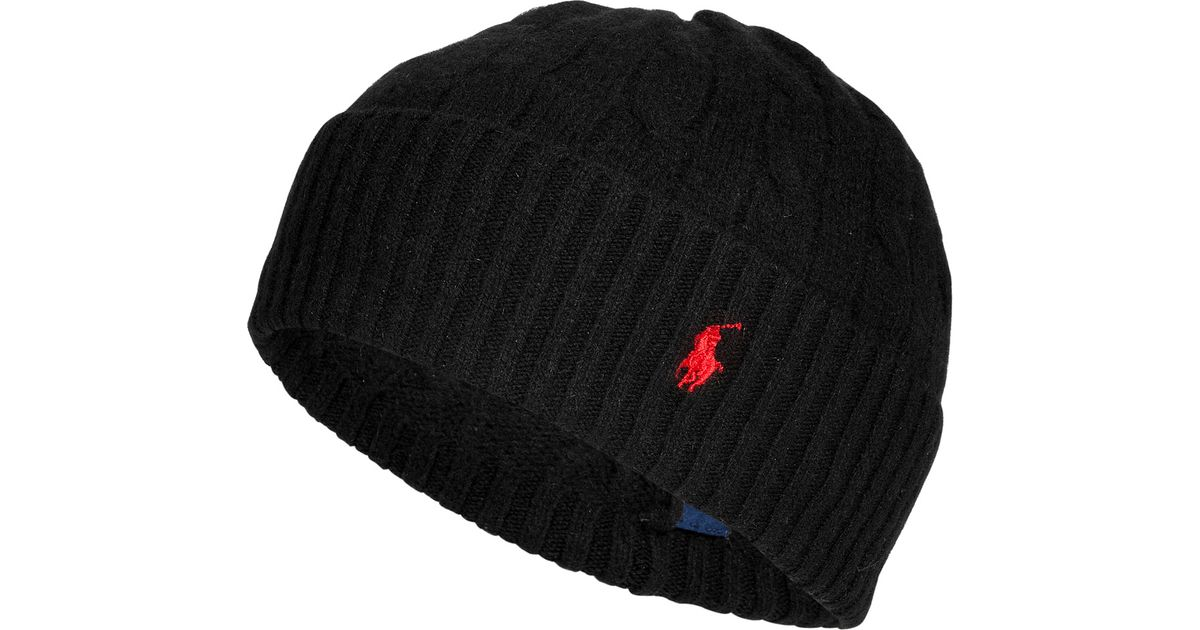 Lyst - Polo Ralph Lauren Merino Wool-cashmere Cable Knit Hat in Black for  Men 212fe2c7c2f1