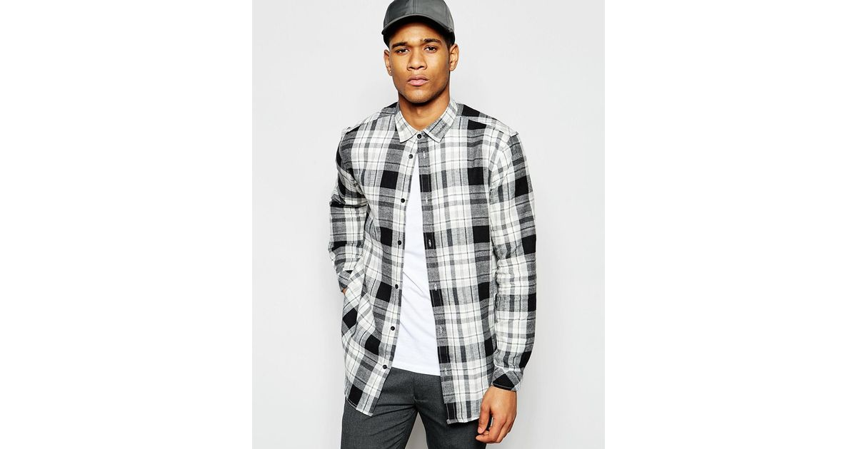 Solid longline check flannel shirt in regular fit in black for Places to buy flannel shirts