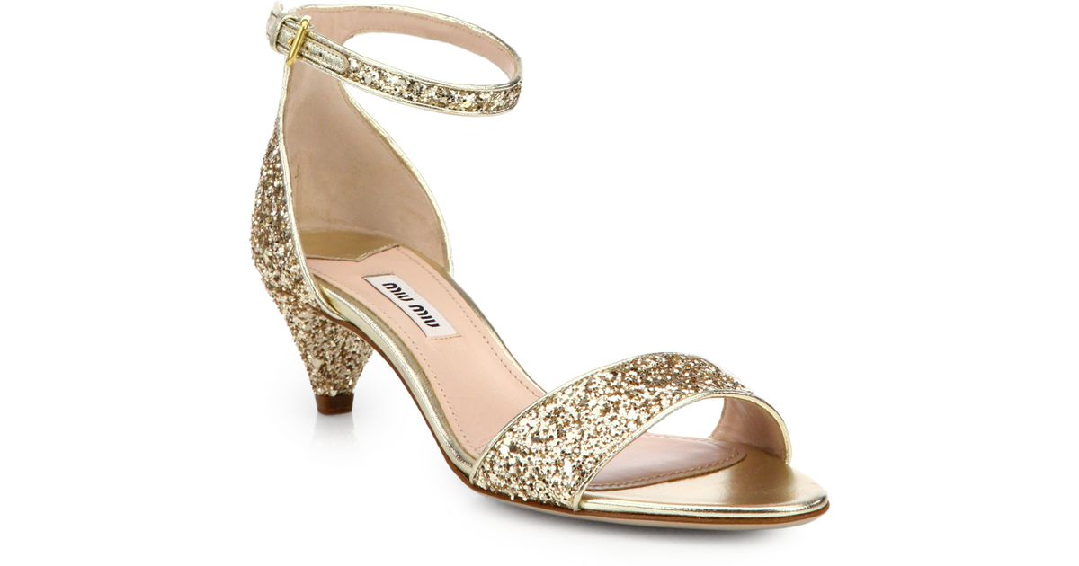 Gold Sandals Kitten Heel