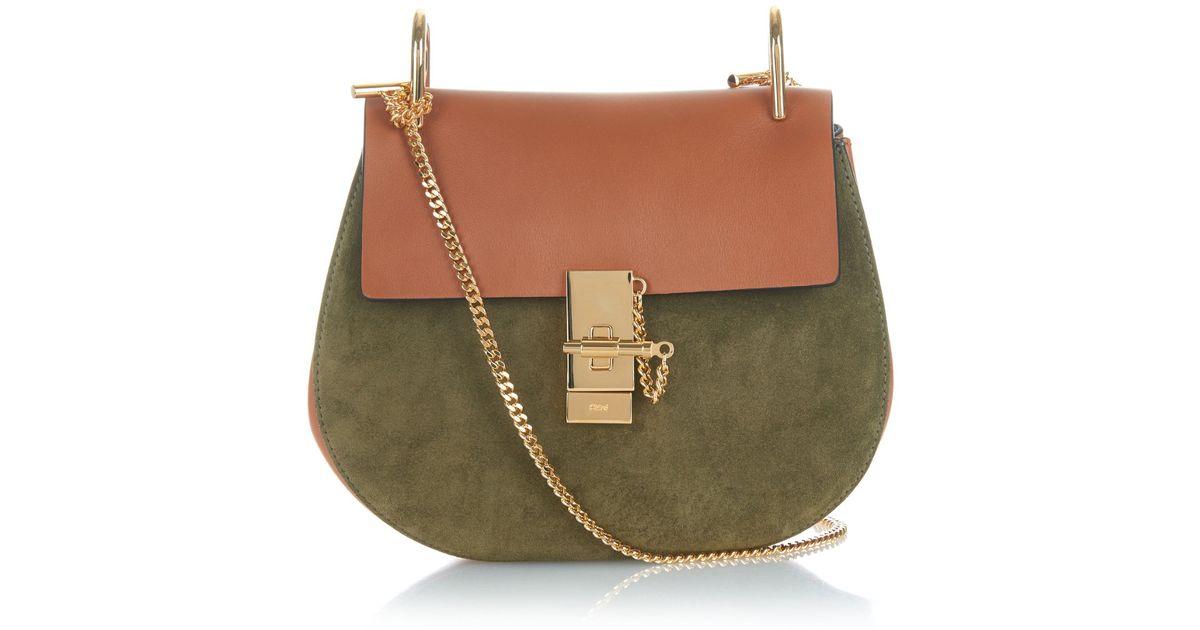 chloe drew leather suede shoulder bag