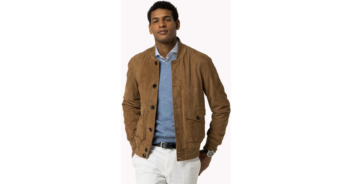 e77b75439 Tommy Hilfiger Brown Tailored Suede Bomber Jacket for men
