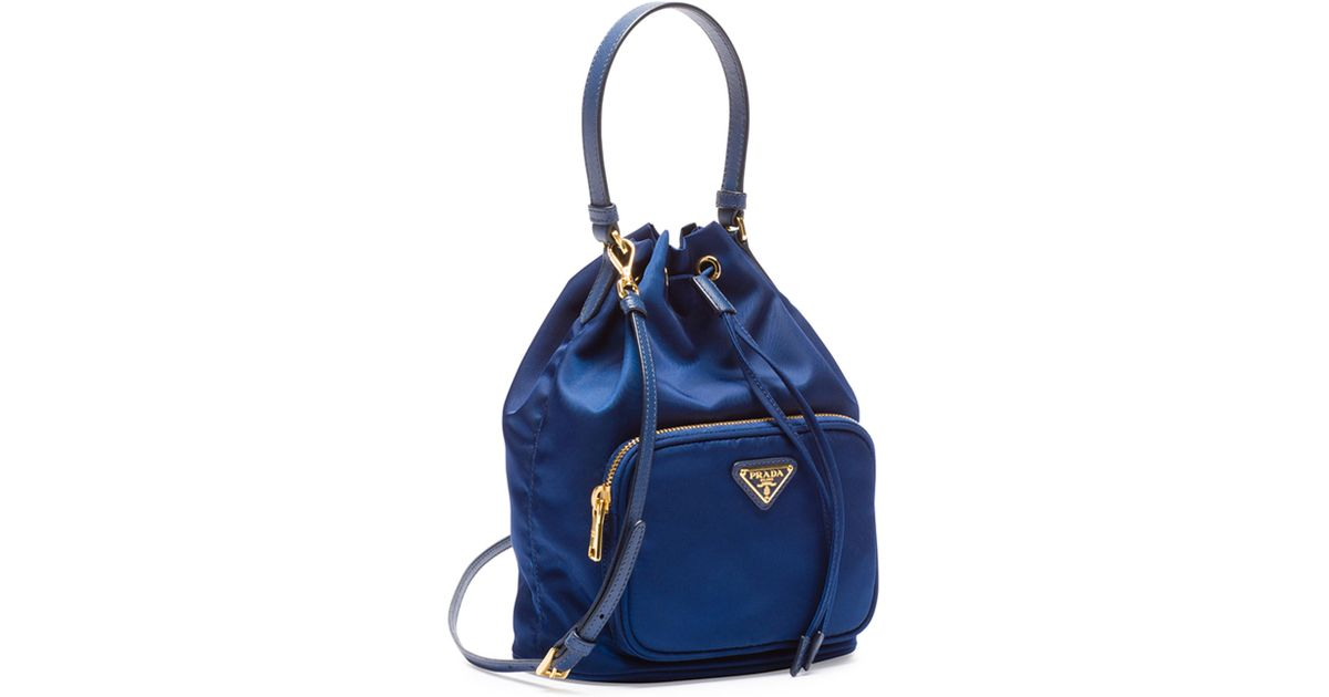 a7a04dc26dac Prada Tessuto Mini Bucket Crossbody Bag in Blue - Lyst