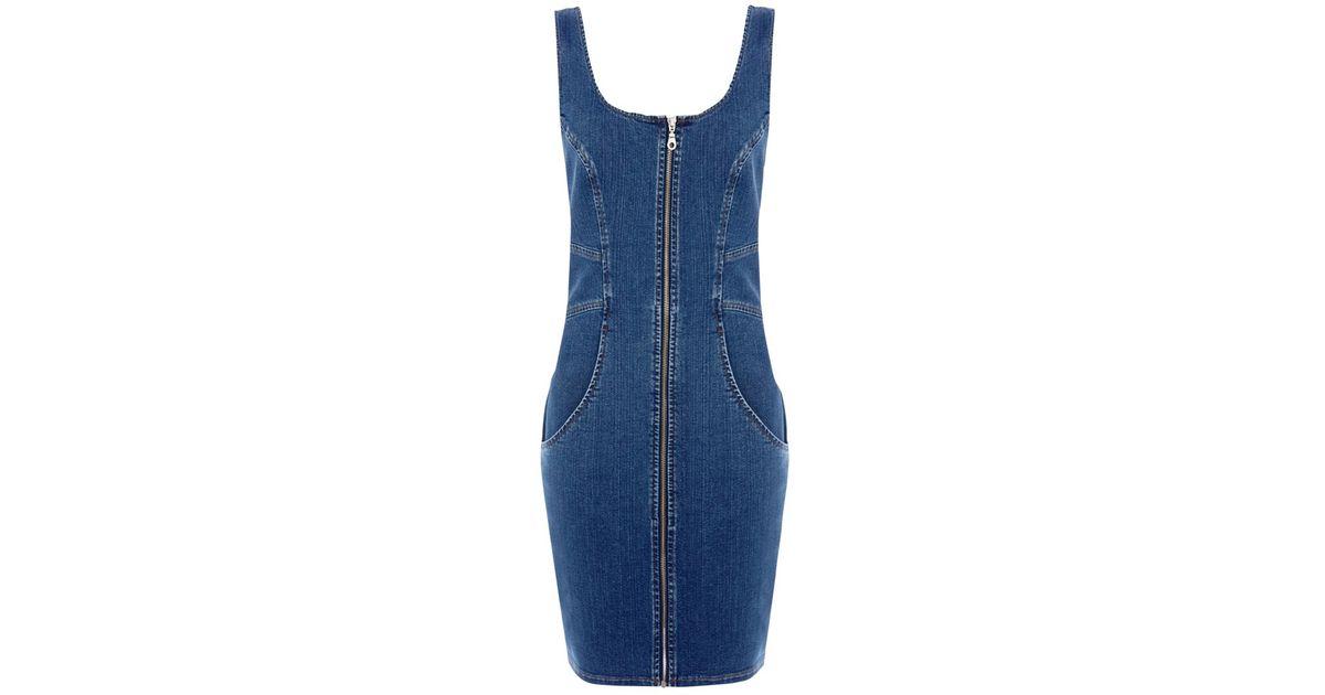 69a4e2c766f Warehouse Zip Front Denim Bodycon Dress in Blue - Lyst