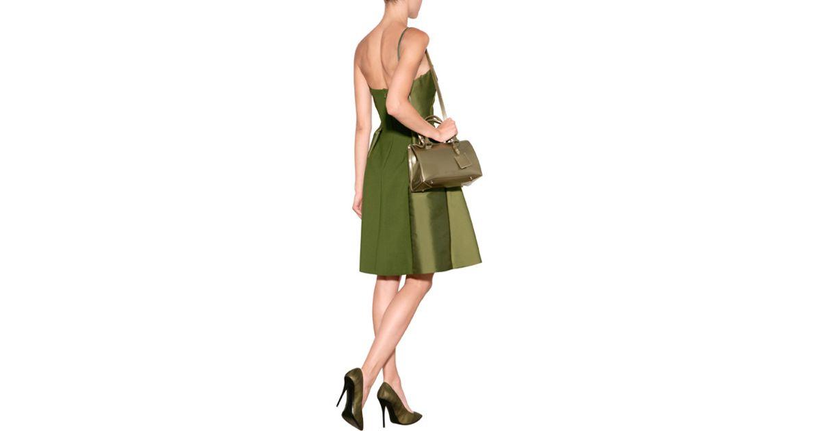 16f930581c033 Alberta Ferretti Satin Strapless Dress - Green in Green - Lyst