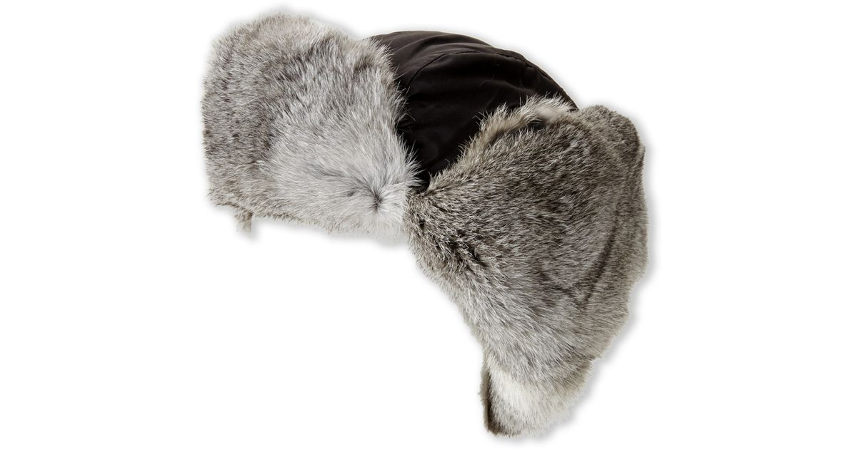 2677afddb3e0b Lyst - Crown Cap Real Rabbit Fur Lined Bomber Hat in Black