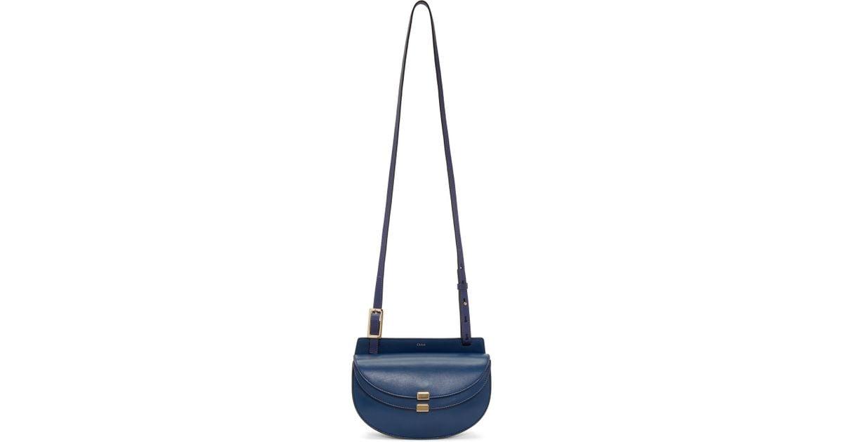 Lyst - Chloé Mini Georgia Leather Saddle Bag in Blue a56b679d1f