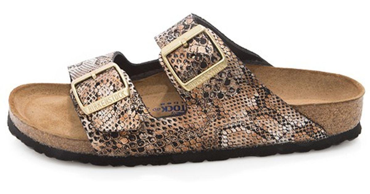 Birkenstock Arizona Snake Print Sandals In Metallic Lyst