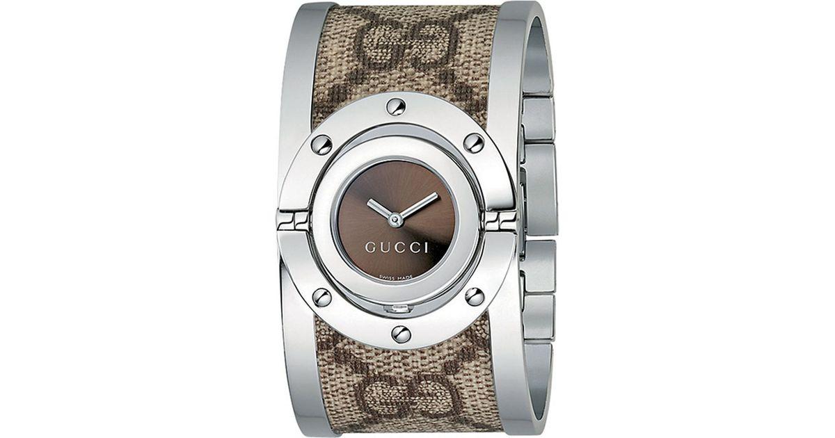300453dec8d Lyst - Gucci Ya112425 Large Stainless Steel Twirl Watch in Metallic