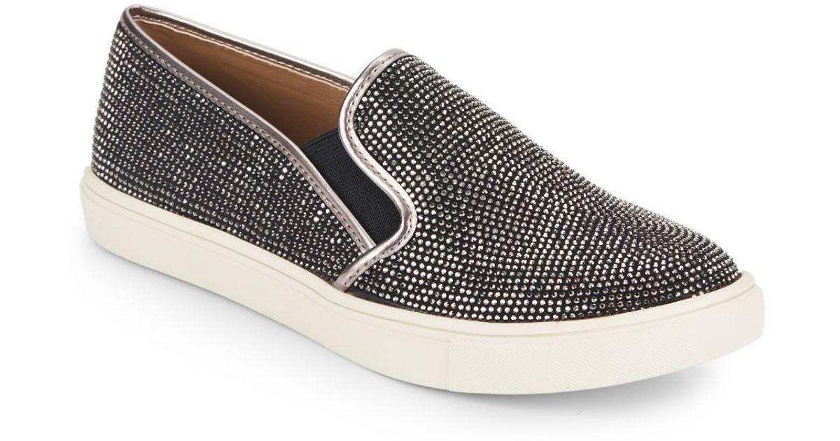 8633e60be36 Lyst - Steve Madden Exsess Rhinestone Slip-on Sneakers in Black