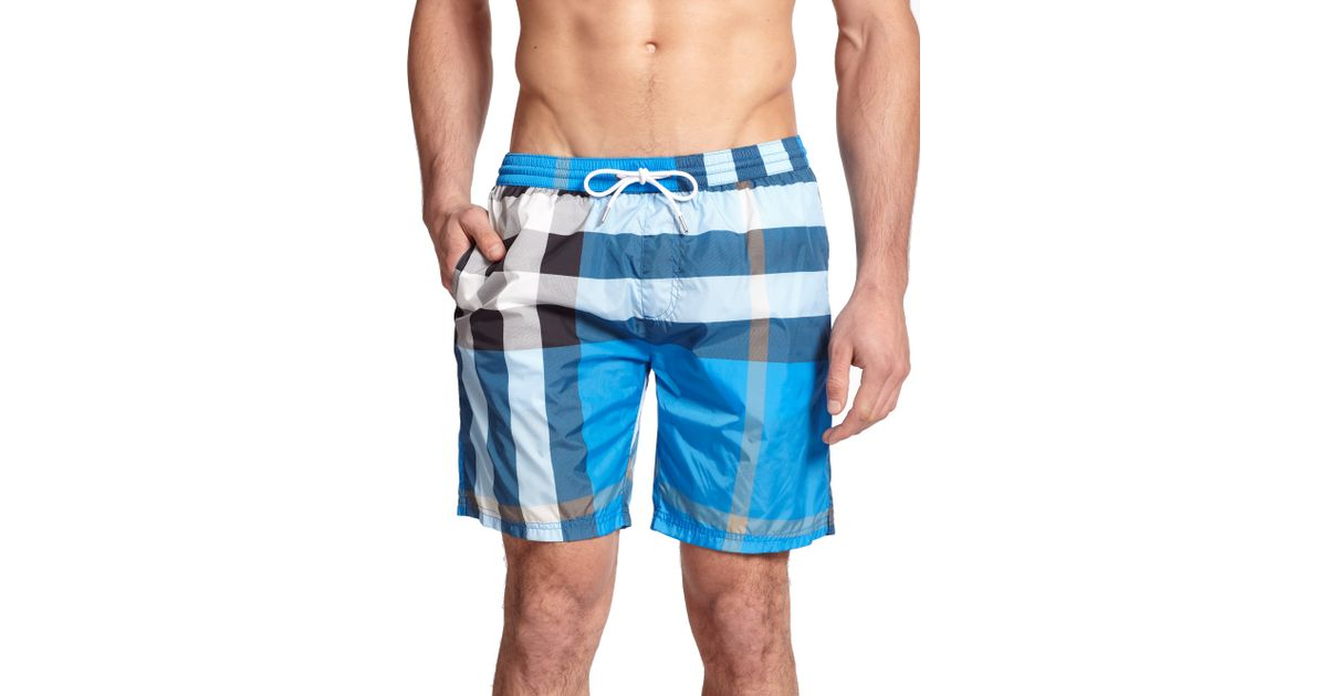 c2cfe9ed80b7 Lyst - Burberry Gowers Checked Swim Trunks in Blue for Men
