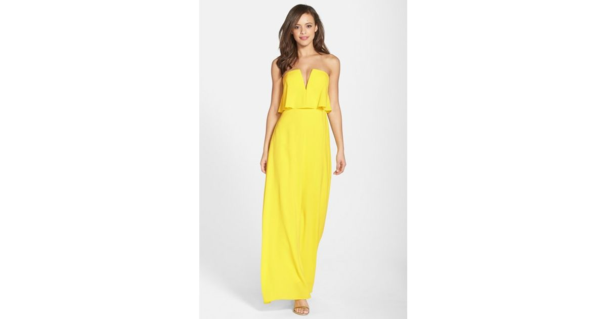 alyse' Strapless Maxi Dress in Yellow