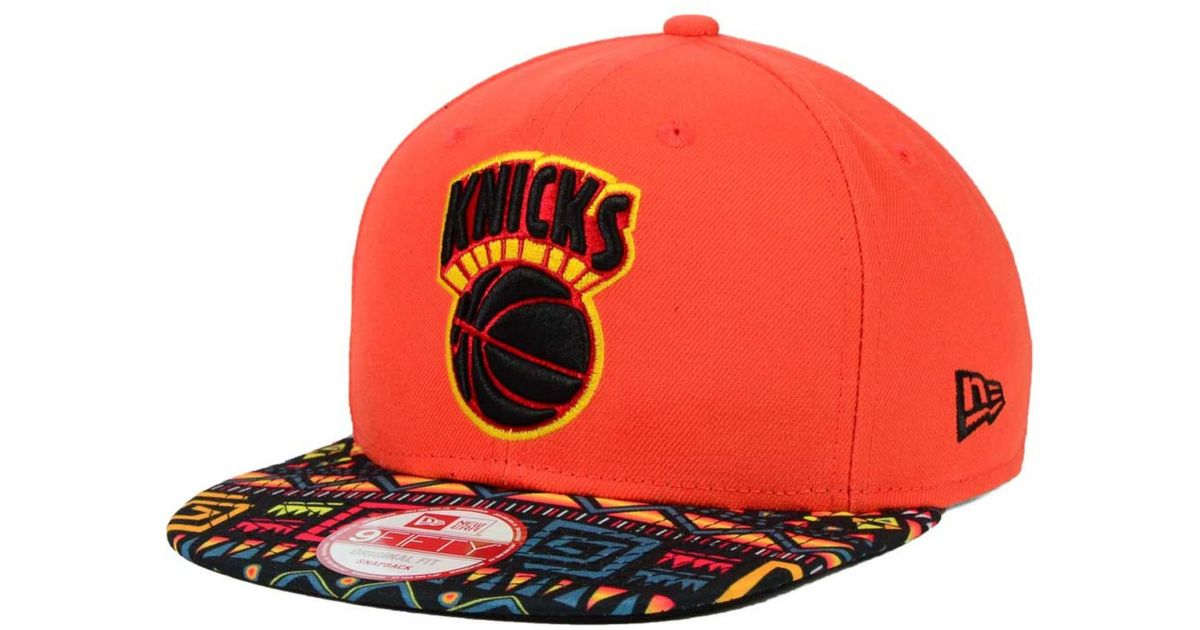 the latest 4c7f7 b2376 ... norway lyst ktz new york knicks hwc tribe called 9fifty snapback cap in  orange for men
