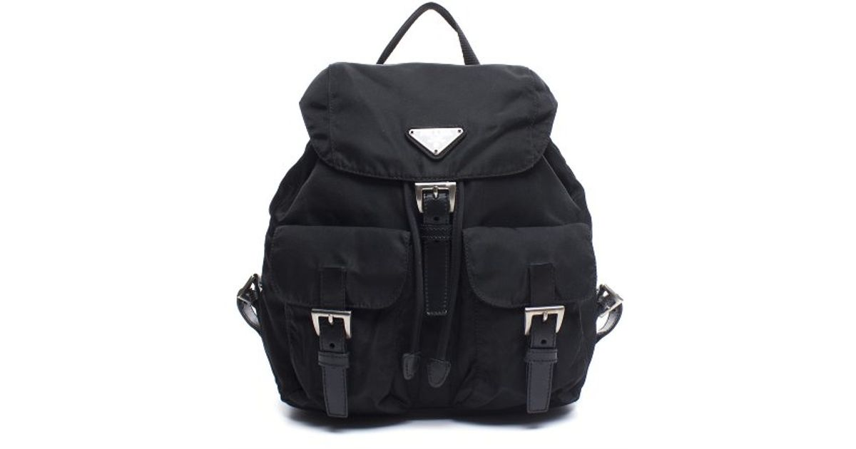 prada saffiano lux tote sale - Prada Pre-owned Black Vela Nylon Backpack in Black for Men | Lyst