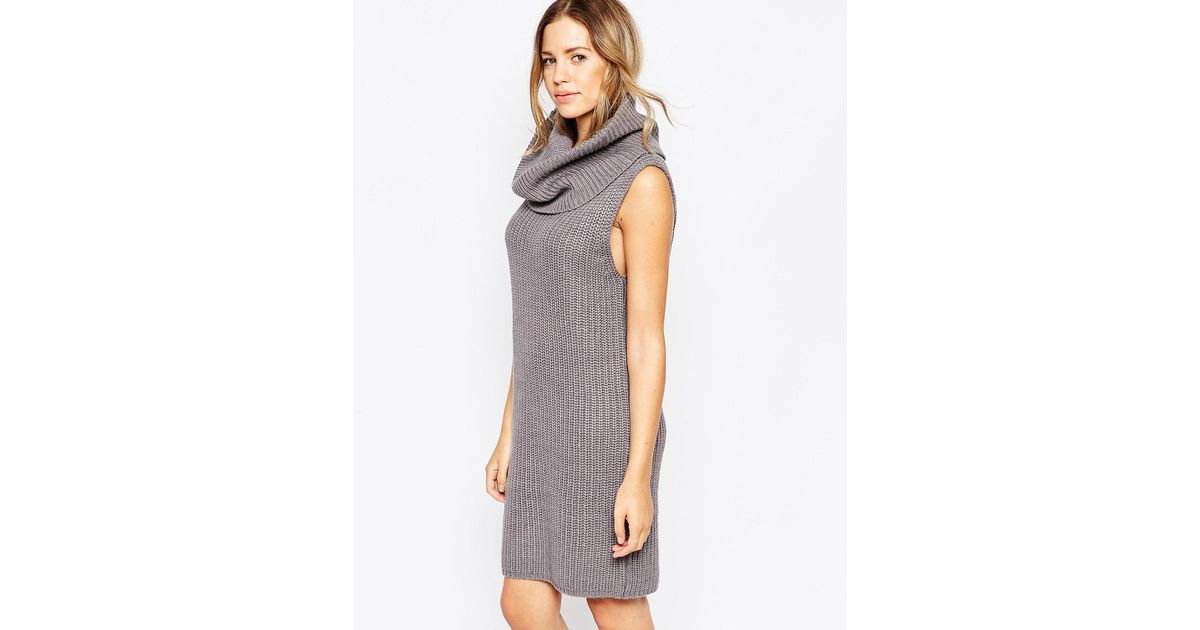 b1762586e4 Lyst - Brave Soul Chunky Knit Sleeveless Cowl Neck Jumper Dress in Gray