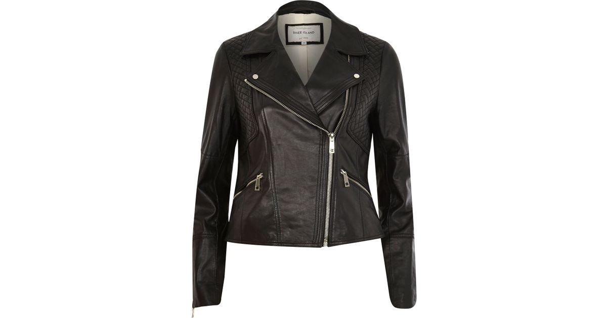 5f6b07c04 River Island Black Leather Fitted Biker Jacket