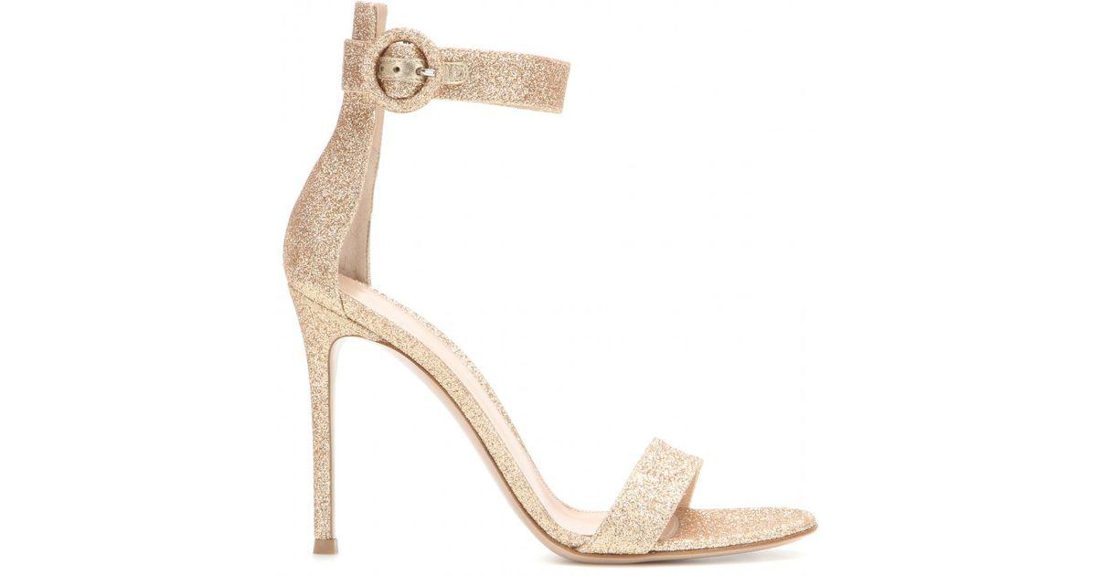 c993ad16d73 Lyst - Gianvito Rossi Portofino Glitter Sandals in Metallic