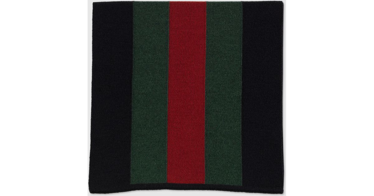 0eeafbeb9843c Gucci Signature Web Black Knit Scarf in Black for Men - Lyst