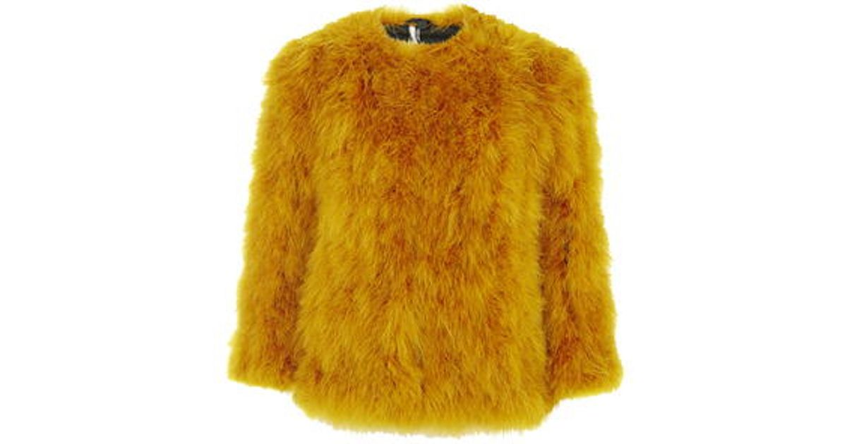 TOPSHOP Marabou Feather Coat in Yellow - Lyst 4b86e32c75cb0