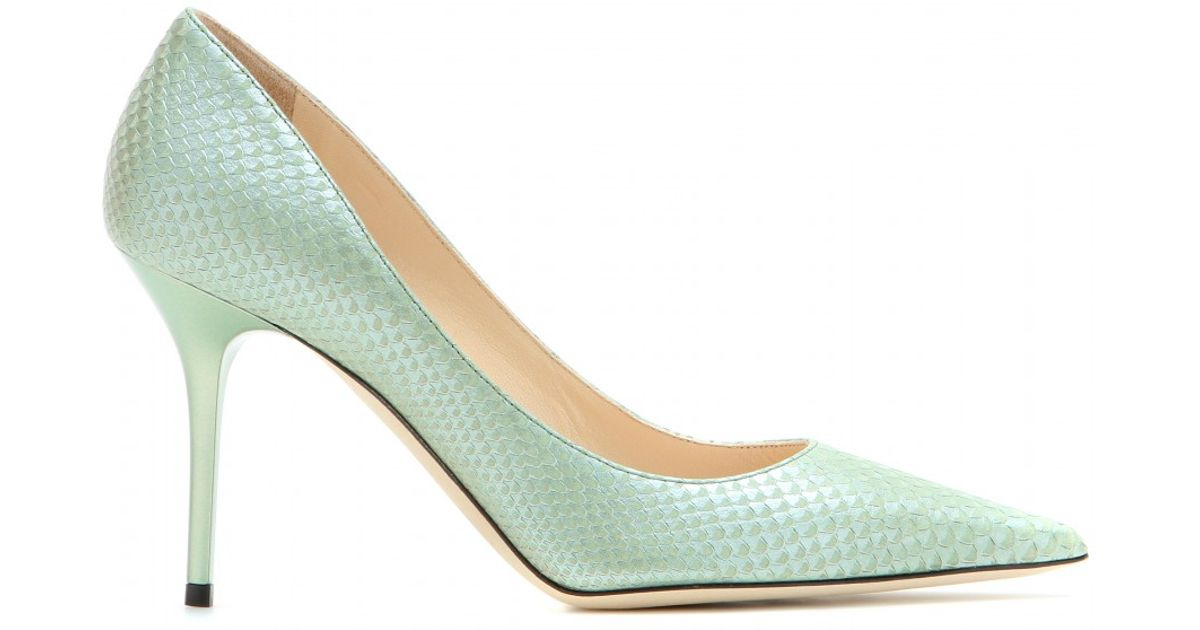 fe64f37aab93 Lyst - Jimmy Choo Agnes Snakeskin-Effect Leather Pumps in Blue
