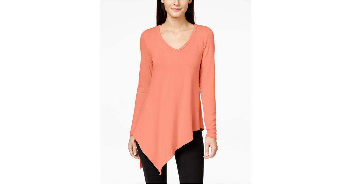 Karen kane Long-sleeve Asymmetrical Tunic Sweater in Red | Lyst