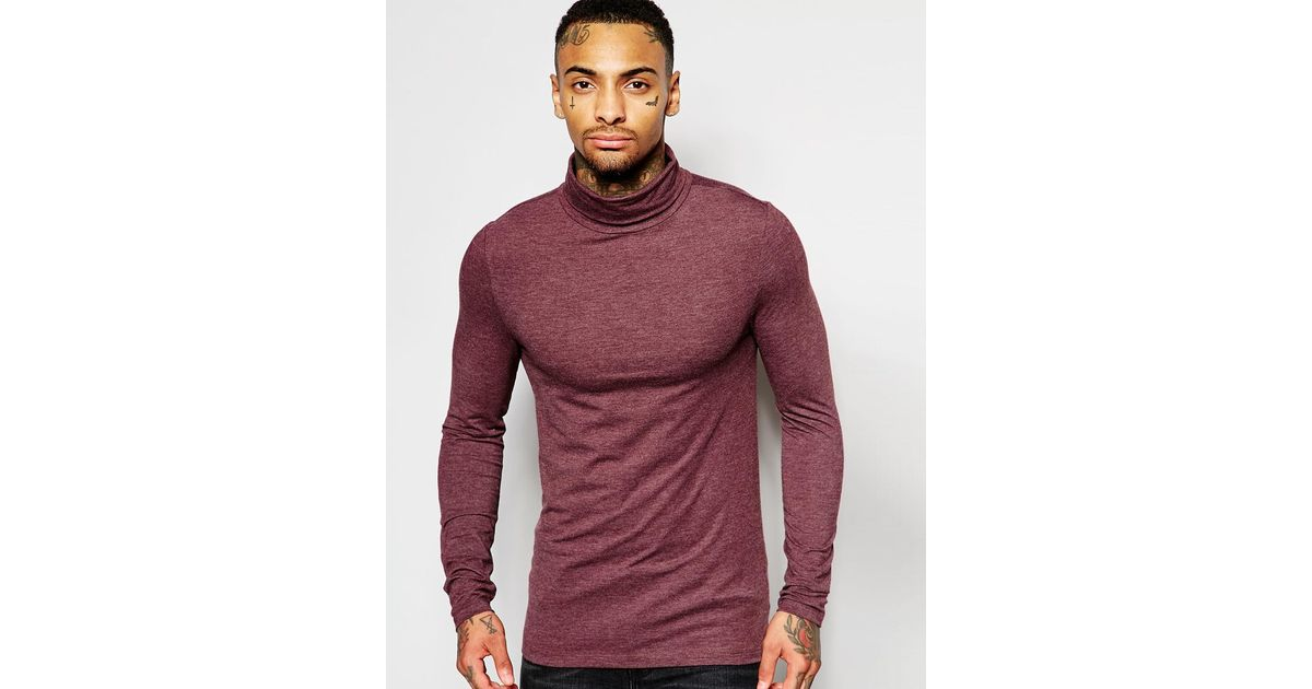 fb0cb15e ASOS Extreme Muscle Fit Long Sleeve T-shirt With Roll Neck in Purple for  Men - Lyst