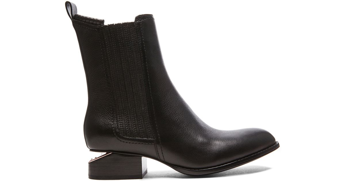 alexander wang anouck chelsea leather boots in black black rose gold lyst. Black Bedroom Furniture Sets. Home Design Ideas