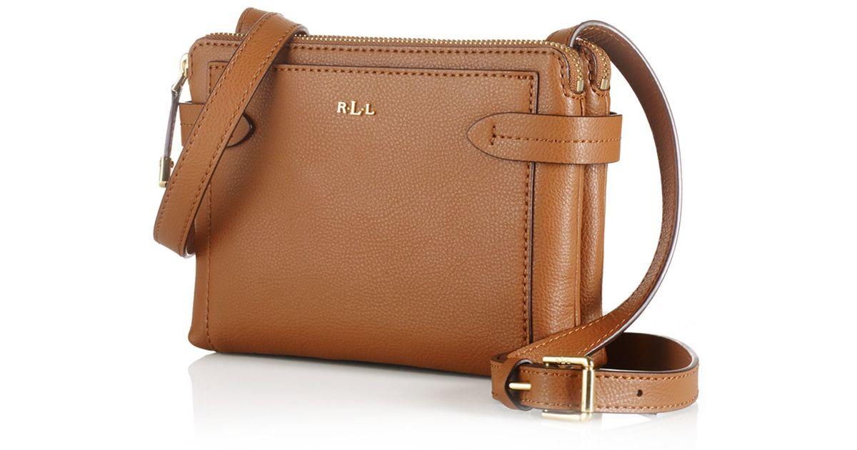 ca8866ea47 Lyst - Ralph Lauren Lauren Crawley Double Zip Crossbody in Brown