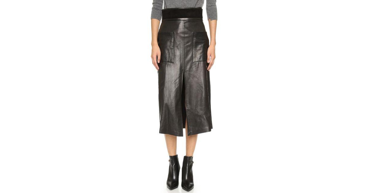 a l c silva leather skirt black in black lyst
