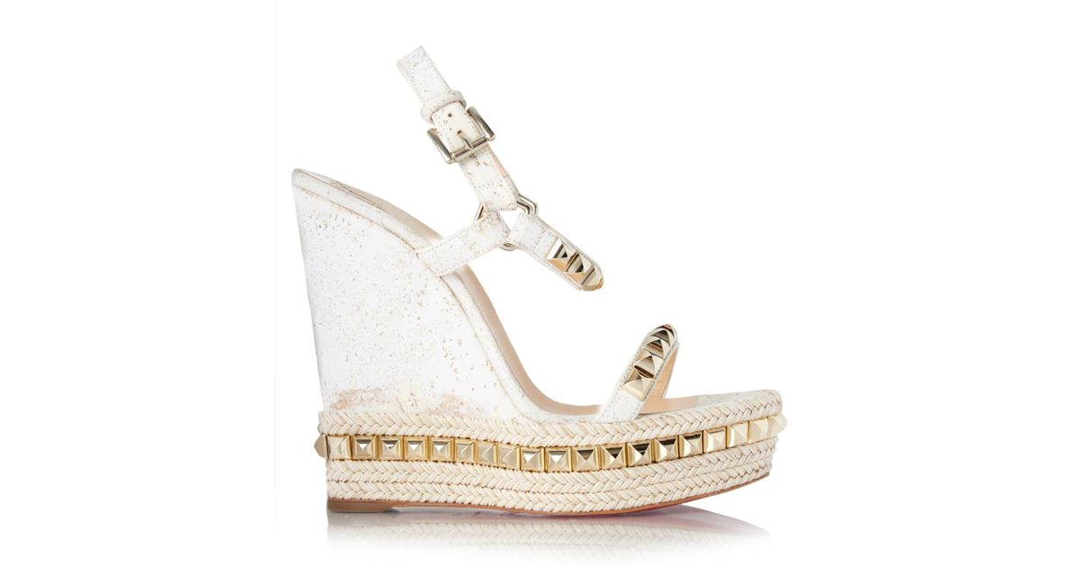 43d2f7170a6 Christian Louboutin White Cataclou Embellished Espadrille Wedge Sandals