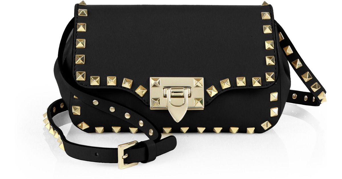 b0ea4274b8 Valentino Rockstud Mini Flap Crossbody Bag in Black - Lyst